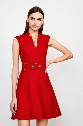 Karen Millen Forever Cinch Waist Cap Sleeve A-Line Dress