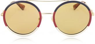Gucci GG0061S Round-frame Metal Sunglasses w/Sylvie Web Trim