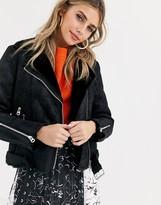 Pimkie faux fur collar biker jacket in black