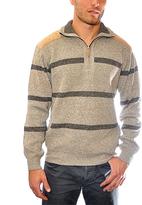 Beige Stripe Shoulder-Patch Half-Zip Pullover