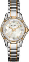 Bulova Women's Crystal Accent Two-Tone Stainless Steel Bracelet Watch 30mm 98L203