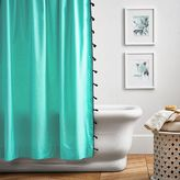 Color On Color Tassel Shower Curtain, Pool/Royal Navy