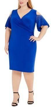 MSK Plus Size Embellished Cold-Shoulder Sheath Dress