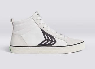 Cariuma CATIBA High Stripe Off White Suede and Canvas Black Logo Sneaker Men