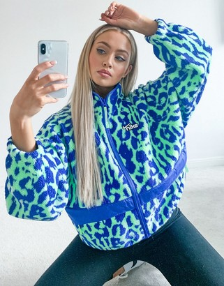 Nike sherpa jacket in blue all over animal print