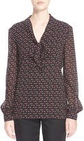 St. John Heart & Dot Print Silk Blend Georgette Blouse