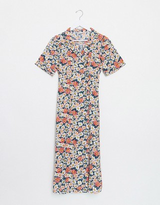 Only midi shirt dress in mixed ditsy floral