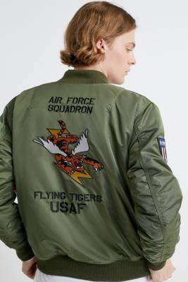 Alpha Industries MA-1 VF Flying Tigers Sage Green Bomber Jacket - green M at Urban Outfitters