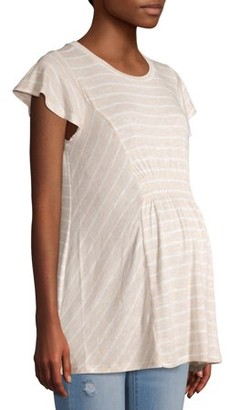 Time and Tru Maternity Short Sleeve Striped Smocked Top
