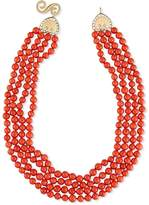 Splendid Four-Strand Italian Coral Bead Necklace