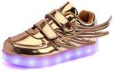 Fuiigo Infant Baby Girls' Angel Wings LED Light Up Walking Shoes 9 M US