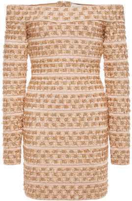 Herve Leger Off-the-shoulder Metallic Fil Coupe Bandage Mini Dress