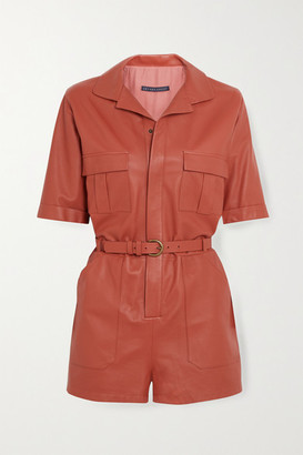 ZEYNEP ARCAY Belted Leather Playsuit - Peach