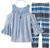 Knitworks Girls 7-16 Cold-Shoulder Bell Sleeve Top & Patterned Leggings Set with Owl Necklace