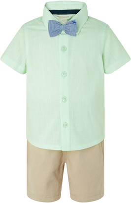 Under Armour Mateo Shirt and Shorts Set with Dinosaur Bow Tie Green