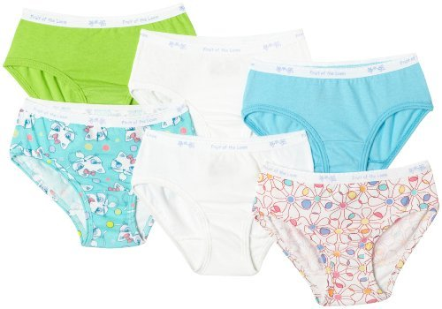 Fruit of the Loom Little Girls' Girls' Cotton Low Rise Brief (Pack of 6)