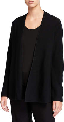 Eileen Fisher Link Shaped Open-Front Merino Wool Cardigan