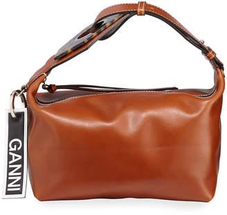 Ganni Smooth Small Buckle Satchel Bag
