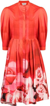 Alexander McQueen Asymmetric Flared Shirtdress