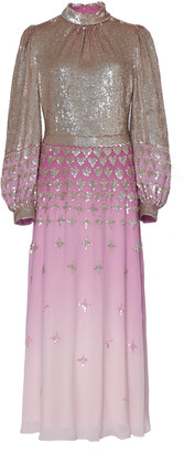 Temperley London Mirela Glittered Ombre Silk-Effect Dress