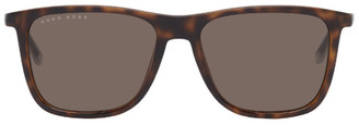 HUGO BOSS Tortoiseshell Matte Rectangular Sunglasses