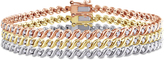 Julie Leah 1 1/2 CT TW Diamond Tri-Colored Silver Twist 3-Piece Tennis Bracelet Set