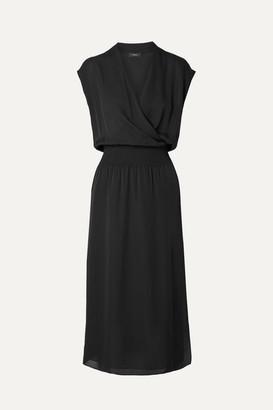 Theory Wrap-effect Silk-chiffon Midi Dress - Black