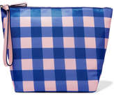 Diane von Furstenberg Origami Gingham Coated-canvas Clutch - Bright blue