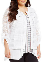 Multiples Plus Roll-Tab Sleeve Zip Front Banded Jacket