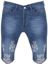 Religion Slashed Denim Shorts Blue