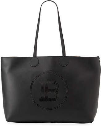 Balmain Medium Calfskin Shopping Tote Bag