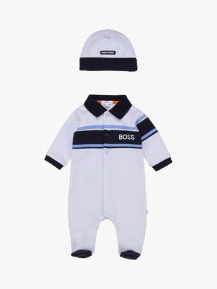 HUGO BOSS Baby Jersey Pyjama and Hat Set, Pale Blue