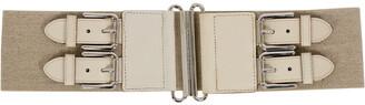 Dolce & Gabbana Beige Canvas and Leather Elastic Waist Belt 90CM