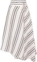 Apiece Apart Rosehip Asymmetric Striped Linen And Silk-blend Wrap Midi Skirt - White