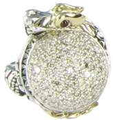 John Hardy 925 Sterling Silver Naga Small Dragon 1.08cts Diamond Ruby Ring Size 7
