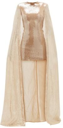 David Koma Sequinned Caped Mini Dress - Womens - Gold
