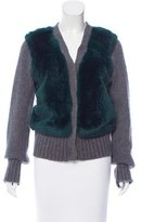 Elizabeth and James Fur Trimmed V-Neck Cardigan