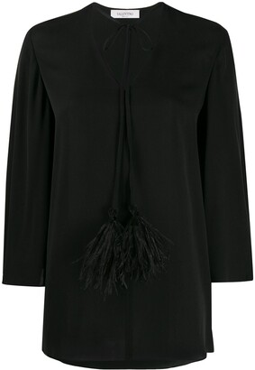 Valentino Feather-Embellished Bell Sleeves Blouse
