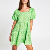 River Island Womens Green floral short sleeve mini smock dress