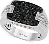 Effy Men's Black Sapphire (1-1/3 ct. t.w.) & White Sapphire (1/2 ct. t.w.) Ring in Sterling Silver, 14k Gold & Black Rhodium-Plate