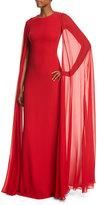 Michael Kors Silk Crepe Chiffon Cape Gown, Crimson