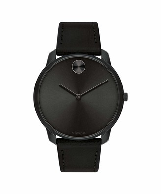 Movado Men's Bold Thin Stainless Steel Swiss Quartz Watch with Leather Strap