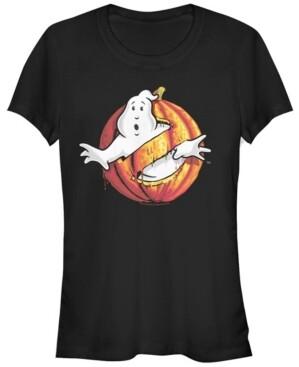 Fifth Sun Ghostbusters Women's Classic Logo Halloween Pumpkin Short Sleeve Tee Shirt