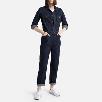 "La Redoute Collections Denim Long-Sleeved Jumpsuit, Length 26.5"""