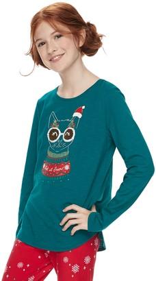 Girls 7-16 SO Christmas Flip Sequin Tee