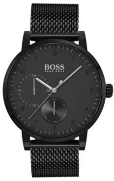 BOSS Hugo Men's Oxygen Black Stainless Steel Mesh Bracelet Watch 42mm