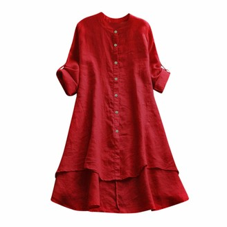 Toamen Women's Tops T-Shirt Sale Clearance 2019 New Ladies Linen Long Sleeve Solid Button Casual Shirt Blouse(Red 18)