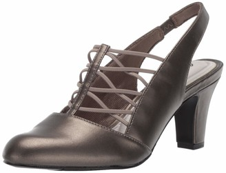 Easy Street Shoes Women's Berry Slingback Dress Shoe on Tapered Heel Pump Pewter 6 N US