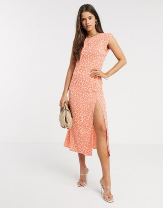 Fashion Union midaxi dress with thigh split in floral