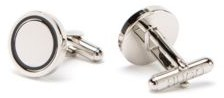 HUGO BOSS Round Cufflinks In Polished Brass With Enamel Inset - Black